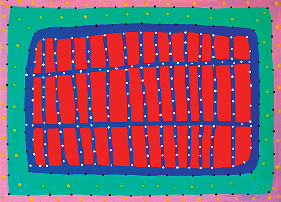 Ngarra, Brring.nga and Wanda, 2005, synthetic polymer paint on paper, 50 x 70 cm, courtesy Indigenart, Mossenson Galleries, Perth and Melbourne.