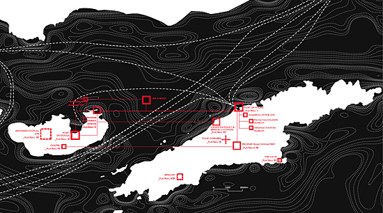 Mapping of the Eleven Plateaus on Hydra's and Dokos' map, designed by landscape architect Io Karydi.
