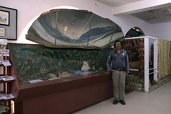 Genaro Amaro next to the prehistoric vitrine