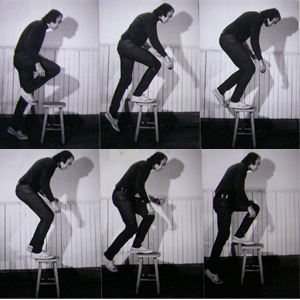 Vito Acconci's instructions for his artwork Step Piece (1970) have one stepping onto and dismounting an 18-inch stool, at the rate of 30 steps a minute, until one is too tired to continue. This is repeated every morning for several months.