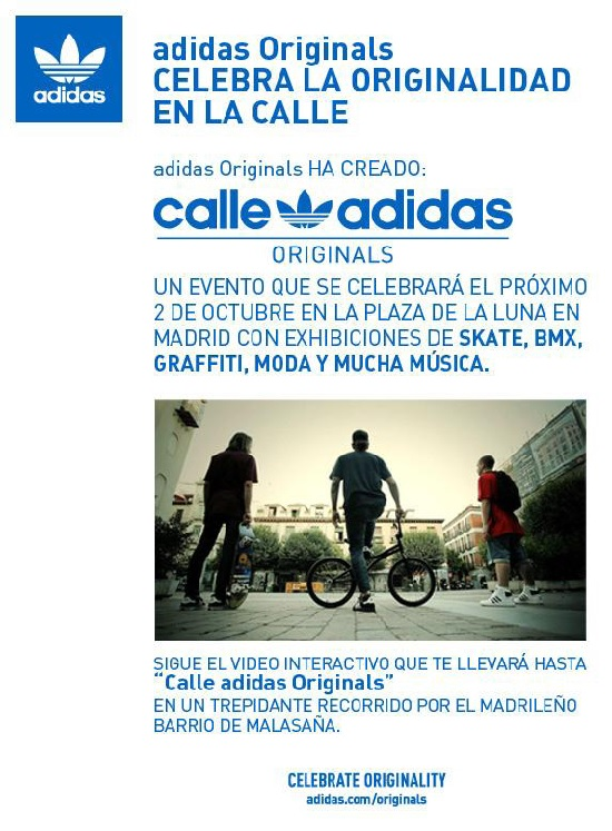 Figure 10: Poster promoting Adidas' event celebrating 'originalidad en la calle' [Originality in the street]